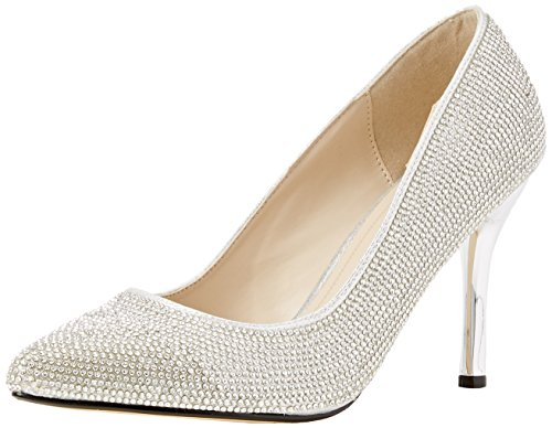 Quiz Diamante Pointed Courts - Tacones Mujer Plata (Silver)