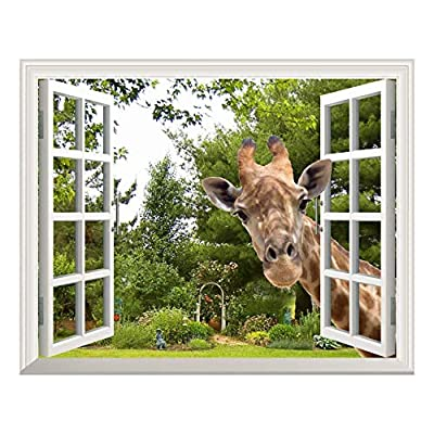 Wall26 Creative Wall Sticker Removable Wall Art Wall Decal - A Curious Giraffe Sticking Its Head into an Open Window | Cute & Funny Wall Mural - 24