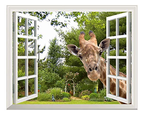 Wall26 Creative Wall Sticker Removable Wall Art Wall Decal - A Curious Giraffe Sticking Its Head into an Open Window | Cute & Funny Wall Mural - 24
