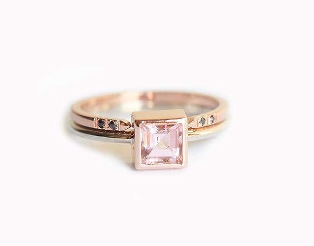 morganite wedding ring set morganite wedding set minimalist wedding set simple wedding set - Simple Wedding Ring Sets