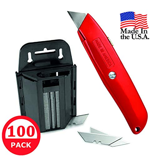 Heavy Duty Utility Knife and Razor Blades with Dispenser – 100 Pack, Safety Box Opener, Cardboard Cutter, Best Utility Knife for Carpenter, Electrician, Tool Box Set and Kit