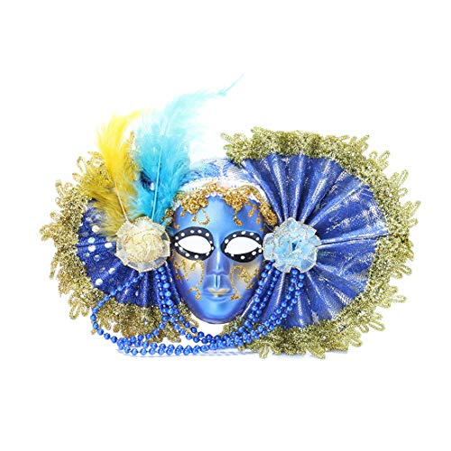 YU FENG Venetian mask Favor, Lace Mini Mask, Costume Accessory Mardi Gas Mask Ball mask Handmade with Glitter Feather -