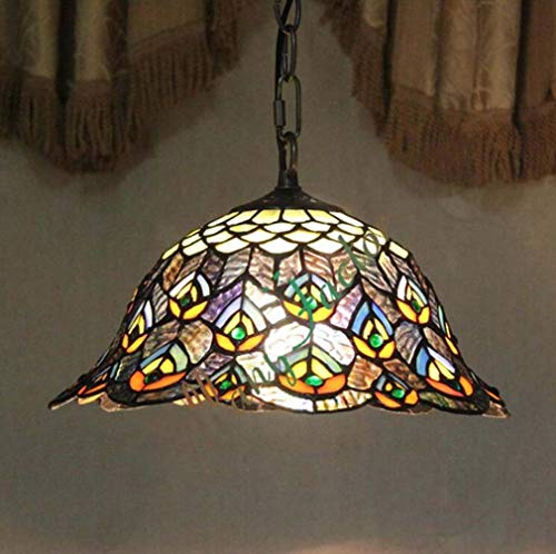 12 Inch Personality Tiffany Style Hanging Lamp for Kitchen Island Lighting Fixture, Stained Glass Peacock Tail Pattern Shade Metal Chain Chandelier (Peacock Tiffany Hanging)