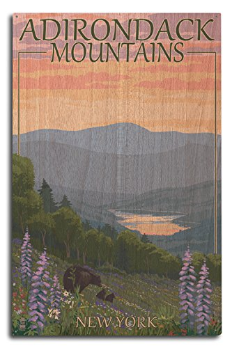 Lantern Press Adirondacks Mountains, New York State - Bears and Spring Flowers (10x15 Wood Wall Sign, Wall Decor Ready to Hang) ()