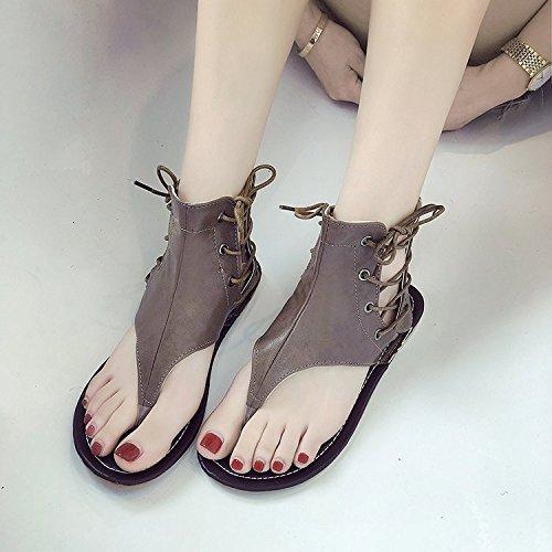 Una Sandalias Verano Los Plana Dedo Y Zapatos Tacón De Brown Alto Base Clip Con Confortable Casual Ayuda Estilo Gran De De 47r64