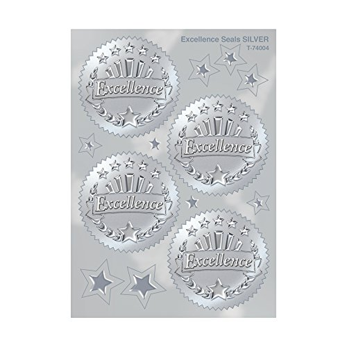 - Excellence (Silver) Award Seals Stickers - 4 stickers per sheet, 8 sheets
