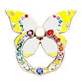 LEXVSS Phone Ring Stand with Bling Crystals Stability Holder Back Stand Car Mount Hook Kickstand 360 for iPhone Samsung Galaxy Mobile Cute Accessories (Yellow Butterfly+Colorful Ring)