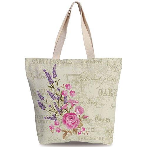 SCOXIXI Fun Canvas Tote Bag,Lavender,Postal Stamps and Postmarks Grungy Backdrop Romantic Bridal Corsage,Light Pink Lavender Tan,Canvas Shopping bag,shoulder handbags,Shoulder Bag (Corsage Purse Pinks)