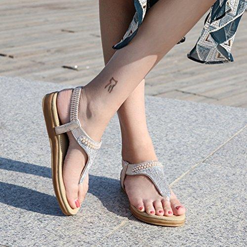 Sandales Bohème Thong Strass Noir Beach Flip Or Confort élastique Femmes Plat Sparkle Flops Summer FTSPS