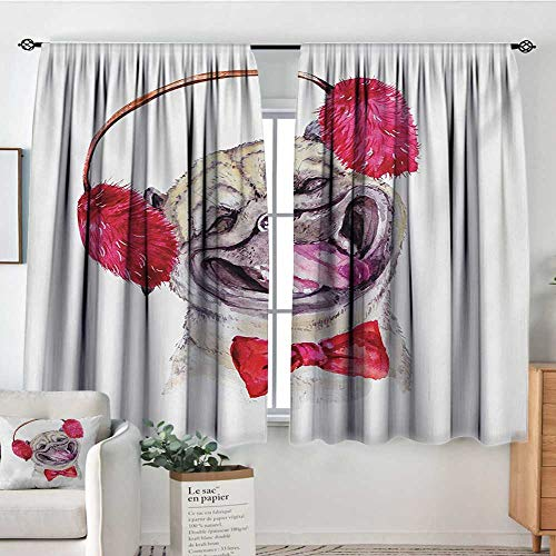 "Mozenou Pug Waterproof Window Curtain Watercolor Drawing of Dog with Furry Winter Headphones and a Bow Tie Happy Cute Animal Blackout Draperies for Bedroom 63"" W x 72"" L Pink Beige"