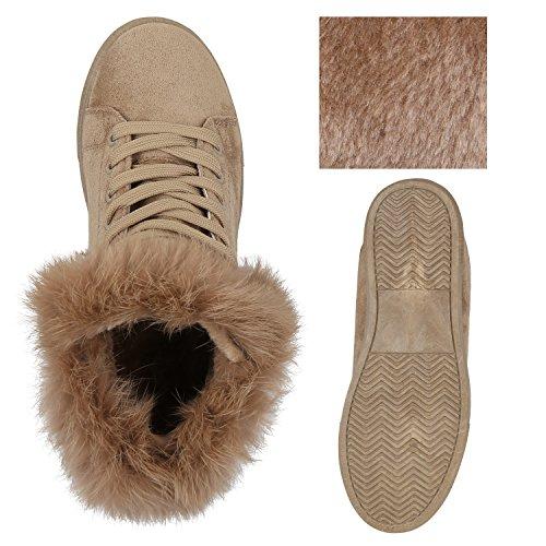 Stiefelparadies Damen Plateau Sneaker High Warm Gefütterte Sneakers Wildleder-Optik Winter Schuhe Plateauschuhe Schnürer Flandell Khaki