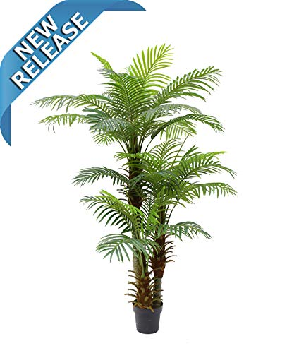 (AMERIQUE Gorgeous and Detailed 6' Triple-Headed Tropical Hawaii Palm Tree Artificial Silk Plant with UV Protection, with Nursery Plastic Pot, Super Quality, 6 Feet)