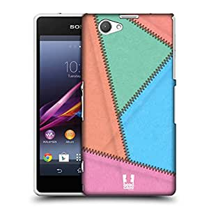 Head Case Designs Bubble Gum Leather Patched Up Protective Snap-on Hard Back Case Cover for Sony Xperia Z1 Compact D5503