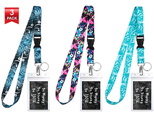 3-Pack Assorted Designs Lanyards with ID Holder & Key Ring for Keys, Cruise Ship Card, Teachers, Nurses. Waterproof Clear ID Badge Case. Essential Cruise Ship & Work Accessories. Vintage Florals. -