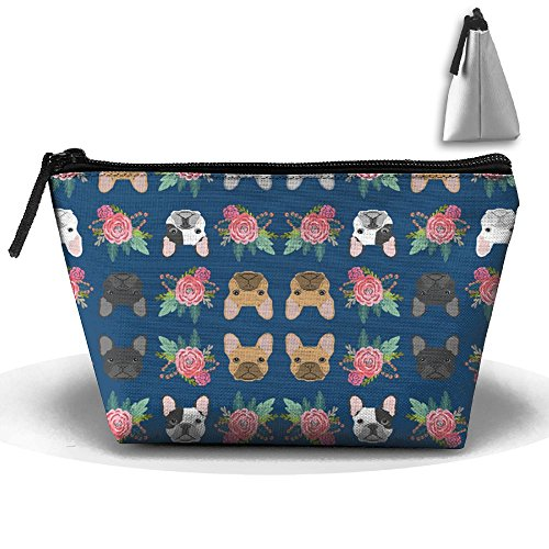 (CBdKc85 French Bulldog Flowers Florals Makeup Bags - Portable Cosmetic Storage Pouches)