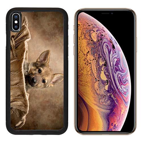 (Luxlady Apple iPhone Xs Case Aluminum Backplate Bumper Snap Cases Adorable Begging German Shepherd Puppy of Nine Weeks Old Sitting in a Vintage Jute Bag IMAG)