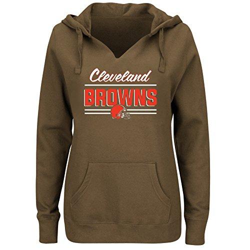 NFL Cleveland Browns Women FLEECE PULL OVER NOTCH HOO, BROWN, 2X