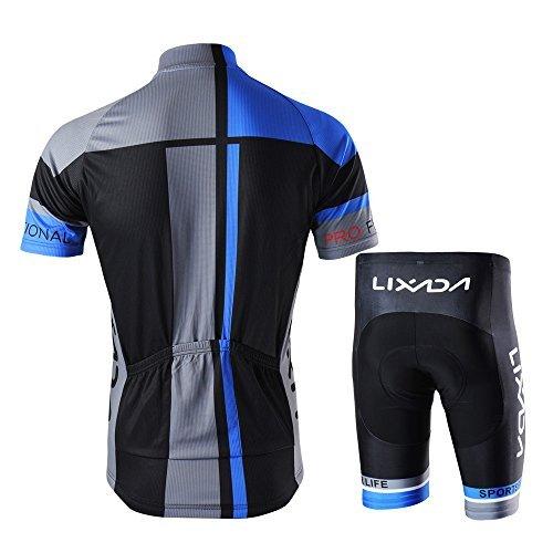 Lixada Men's Cycling Jersey Set Breathable Quick-Dry Short Sleeve Biking Shirt with 7D Padded Shorts MTB Road Bike Cycling Clothing (Rear Detailed Notes)