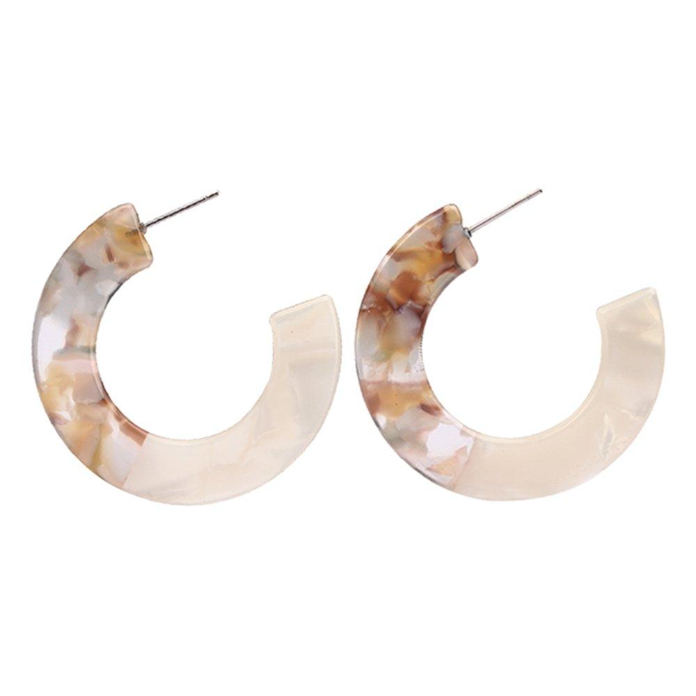 MIZUKAGAMI Tortoise LYZC Earrings 1.57'' x 1.57'' for Women Acrylic Acetate Edition Extrordinary Pattern (White)