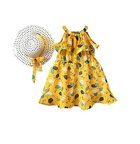 2PCS Baby Girl Outfit Clothes Chiffon Floral Vest Dress+Sun Hat Set (Yellow#3, 4-5 ()