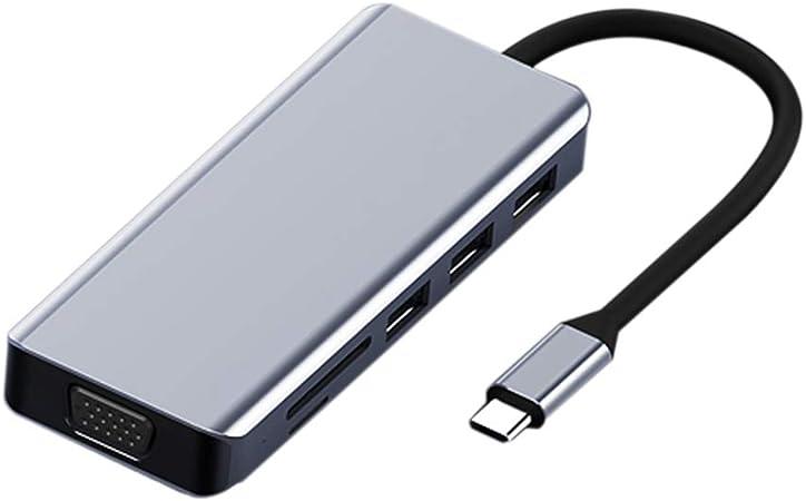 MHUI-Estación de Acoplamiento multifunción para concentrador USB Estación de Acoplamiento Inteligente Tipo C Interfaz Externa de TV HDMI 87WPD Smart Fast Charge Interfaz Dual VGA HDMI: Amazon.es: Hogar