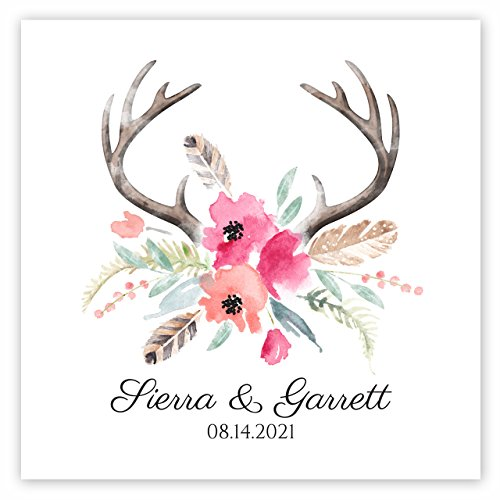 Blooming Antlers Personalized Beverage Cocktail Napkins - 100 Custom Printed Paper Napkins]()