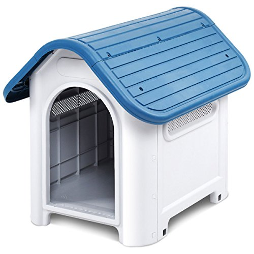 Giantex Outdoor Indoor Pet Dog House Portable Waterproof Plastic Puppy Shelter All Weather Roof Cat Dogs House with/without Skylight (Blue, Without (Cat Plastic House)