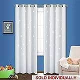 NICETOWN Star Blackout Curtain Panels - Creative Die-cut Star Curtains for Nursery (One Panel,52 x 84-Inch,Platinum & Greyish White)