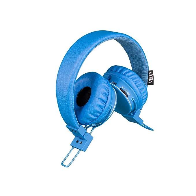 Vieta Pro Tempo - Auricular inalámbrico portátil de diadema con Bluetooth, Lector de Tarjeta SD, Radio FM, botonera externa, entrada auxiliar, ...