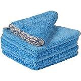 "Buff Detail 400 Automotive Microfiber Towel   All-Purpose Auto Detailing - Wax, Buff, Polish, Wash, Dry   Soft Satin Piped Edges   Lint Free   16""x16""   6 Pack (Blue)"