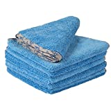 Buff Detail 400 Automotive Microfiber Towel | All-Purpose Auto Detailing - Wax Removal, Buff, Polish, Wash, Dry | Soft Satin Piped Edges | Streak Free Shine | 16''x16'' | 6 Pack (Blue)