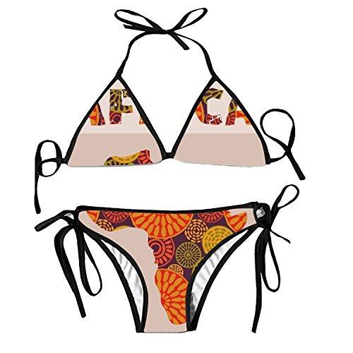 fuxinwang Africa Bikini Halter Swimsuit Triangle Bathing Suits for Women by fuxinwang