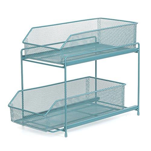 NEX 2 Tier Sliding Basket Organizer Drawer Organizer - Blue Organizer