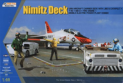 KIN48057 1:48 Kinetic Nimitz Deck (T-45 Goshawk, Carrier Deck w/JBD & Catapult, MD3, Fire Engine, Tow Tractor, Engine Starter) [MODEL BUILDING KIT] ()