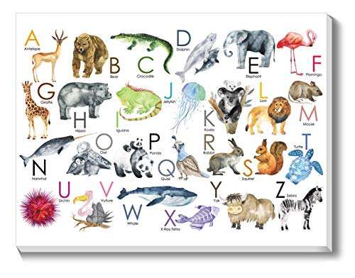 Texture of Dreams Kids Alphabet Letters with Pictures on Large Canvas Wall Art, Preschool Learning Educational Posters, Alphabet Zoo Animal ABC for Kids Toddlers, Baby Nursery Art Prints (18
