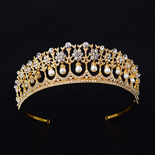 SSNUOY Gold Bridal Tiara for Wedding Women Pearl Crown Princess Prom Headband