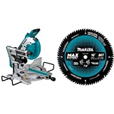 Makita XSL06Z 18 Volt X2 LXT Lithium-Ion (36V) Brushless Cordless 10 inch Dual-Bevel Sliding Compound Miter Saw with 10 inch 80T Carbide-Tipped Max Efficiency Miter Saw Blade