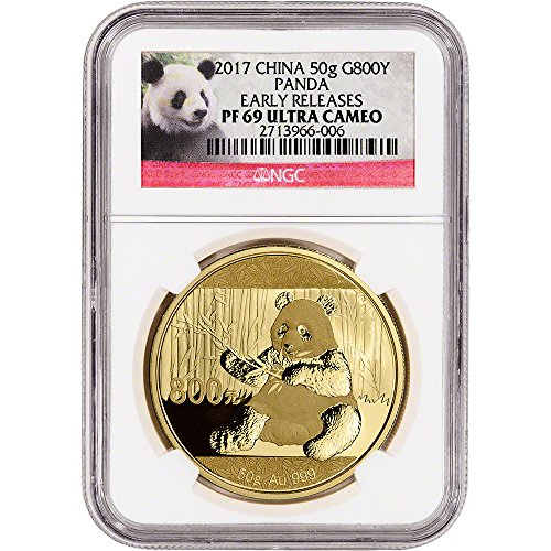 2017 CN China Gold Panda (50 g) Proof Early Releases Panda Label 800 Yuan PR69 NGC UCAM