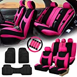 FH GROUP FH-FB030115 Light & Breezy Cloth Seat Covers, Airbag & Split Ready Pink / Black Combo Set: Steering Wheel Cover, Seat Belt Pads and F11306 Vinyl Floor Mats-Fit Most Car, Truck, Suv, or Van