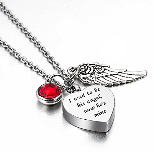 HooAMI Angel Wing Charm Cremation Jewelry Heart Urn Necklace with Engraving - I used to be his angel, now he's mine