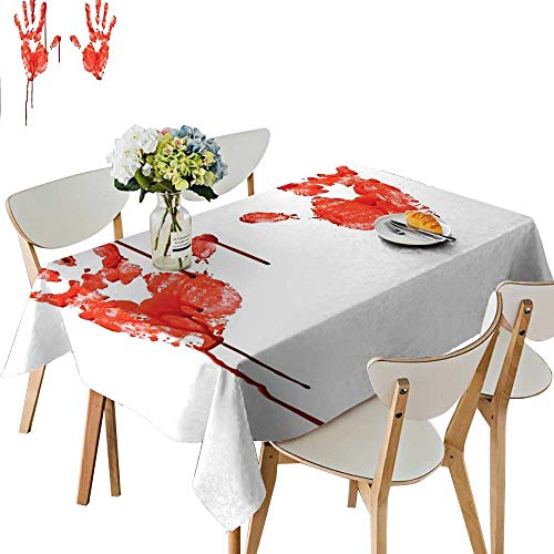 UHOO2018 Printed Fabric Tablecloth Square/Rectangle Like Wanting Help Halloween Horror Scary Spooky Flowing Blood Themed Print Red White Wedding Party Restaurant,52 x 70inch ()