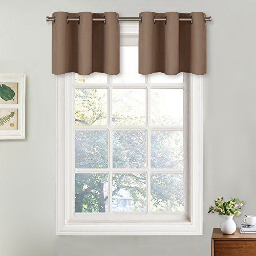 (NICETOWN Short Curtains Blackout Valance - Thermal Insulated Light Reducing Drapes for Half Window (One Pair, 29W by 18L + 1.2 Inches Header, Cappuccino))