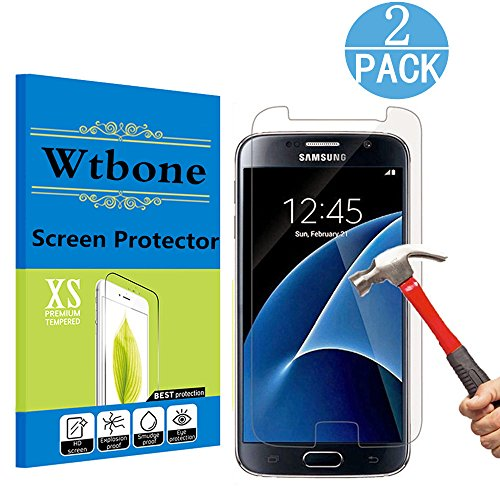 [2 - Pack] Samsung Galaxy S7 Tempered Glass Screen Protector, Wtbone 9H Hardness,Bubble Free [Ultra-Clear]...