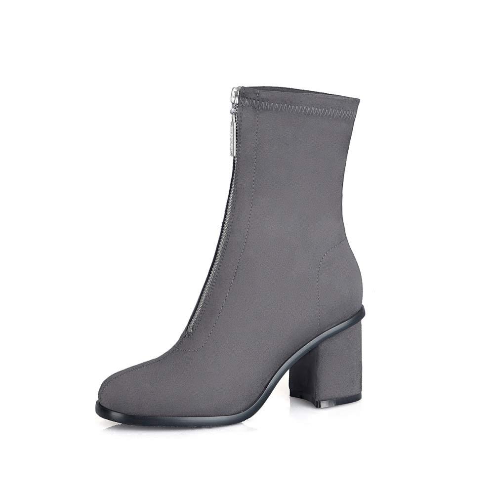 CN Damenstiefel - Britische Mode Damen Stiefeletten Dick Mit Rein Schwarzen Kurzen Stiefeln Frontreißverschluss 34-39