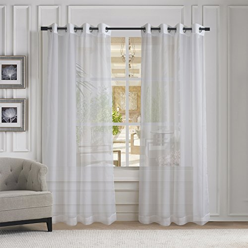 Sheer Room (Aquazolax Solid Grommet Sheer Window Curtains Voile Panels for Living Room (2-Pack, W54 x L84 inches,)