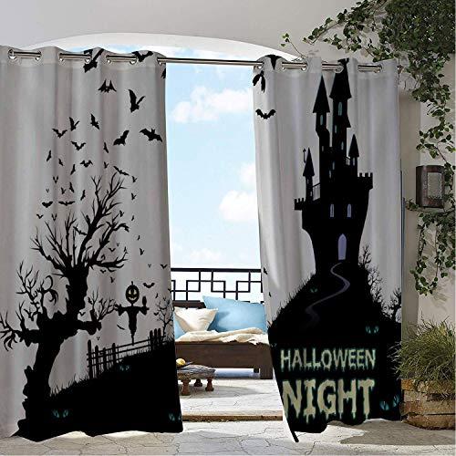 Linhomedecor Outdoor Waterproof Curtain Halloween Night Black Castle
