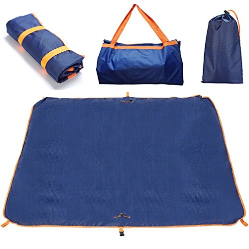 Jujuism Beach Blanket Outdoors Waterproof Travel Foldable Tote Bag Camping Picnic Multifunctional Mat Sand Proof (Zip Outdoor Up Blanket)