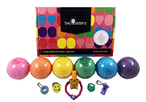 Kids BUBBLE Bath Bombs with Surprise Toys Inside by Two Sisters Spa. Set of 6 Large Fizzies in Gift Box. Safe, Fun Colors, Scented, Hand-made in the USA (Girls Surprise) ()