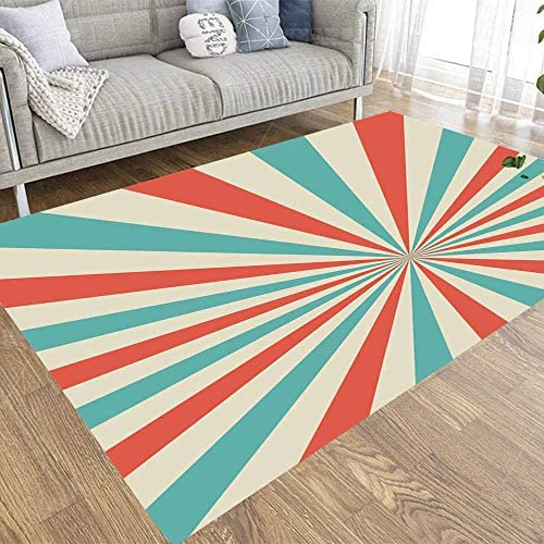 ROOLAYS 5×7 Area Rugs'sunlight Retro Narrow Vertical Background Pale Red Blue Color Burst FANTASY Magic Sun Beam Ray Pattern