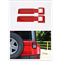 FMtoppeak 2 Pcs Red ABS Exterior Styling Rear Door Spare Tire Hinge Cover Trim For Jeep Wrangler 2007-2016